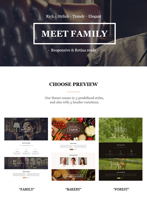 family one page template