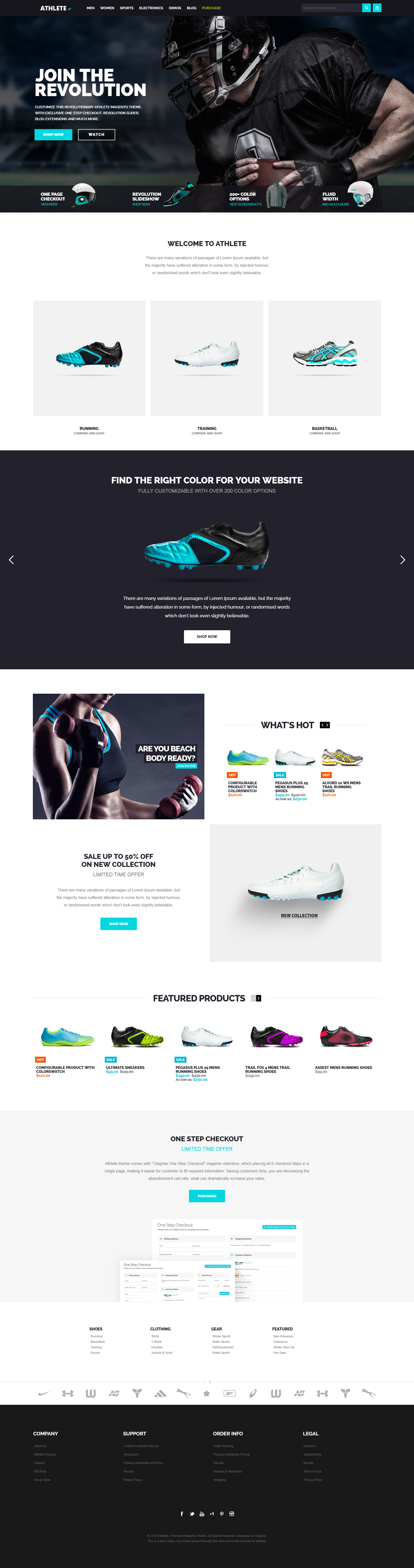 athlete magento theme home page