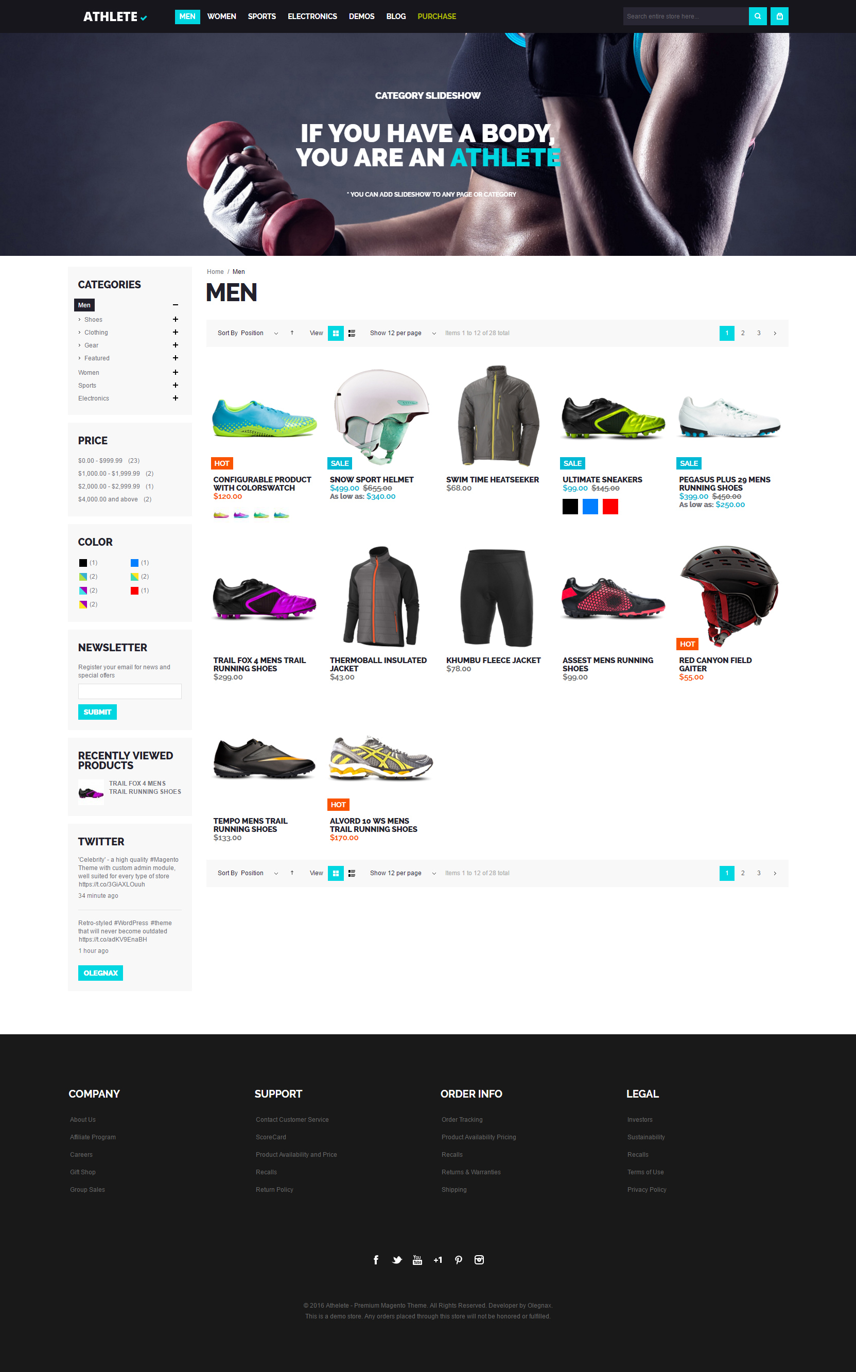 athlete magento theme men category