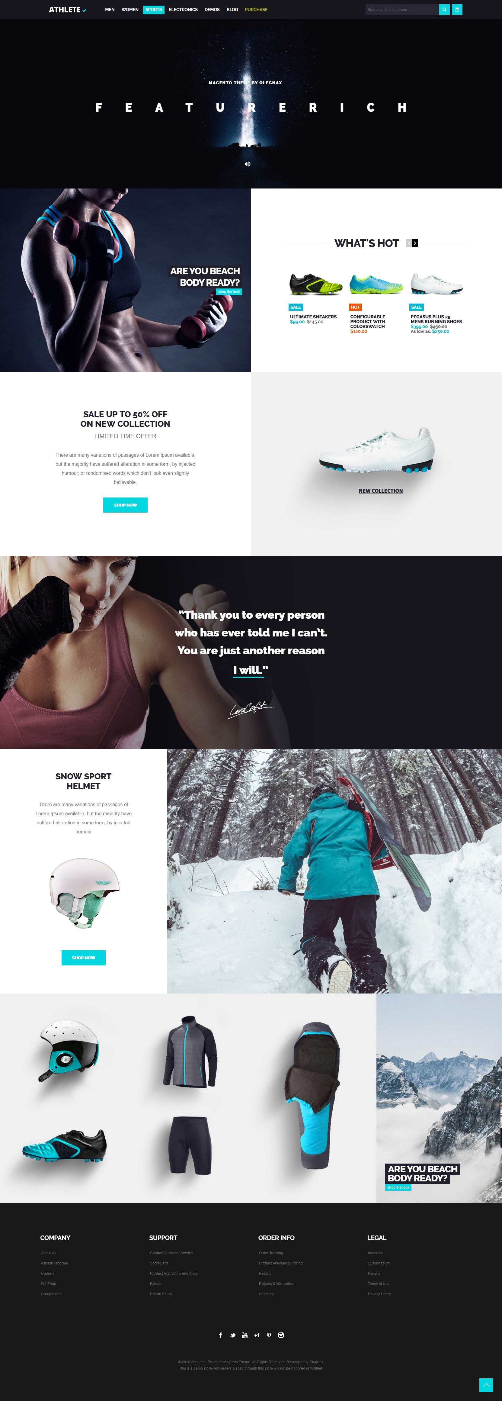 athlete magento theme sport category