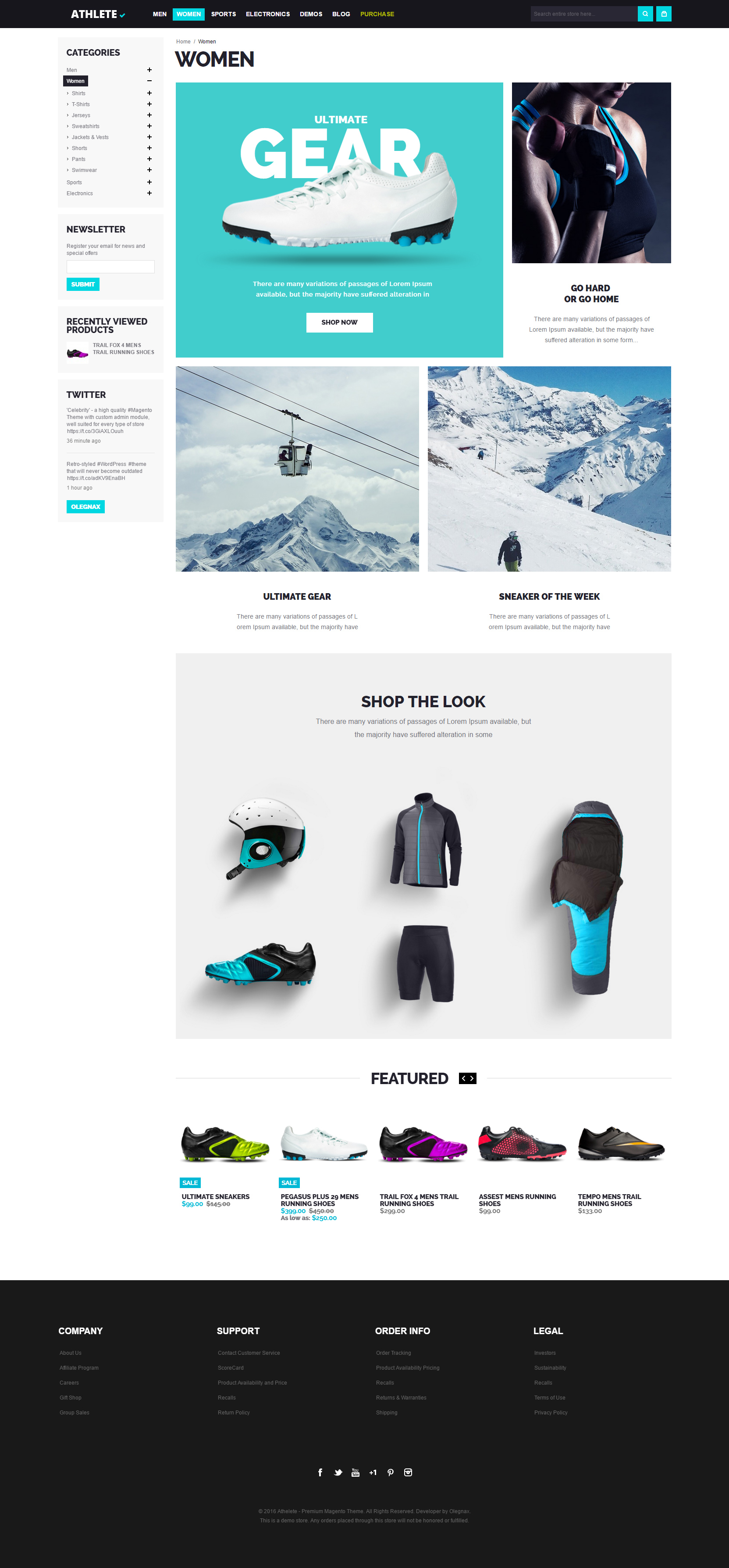 athlete magento theme women category