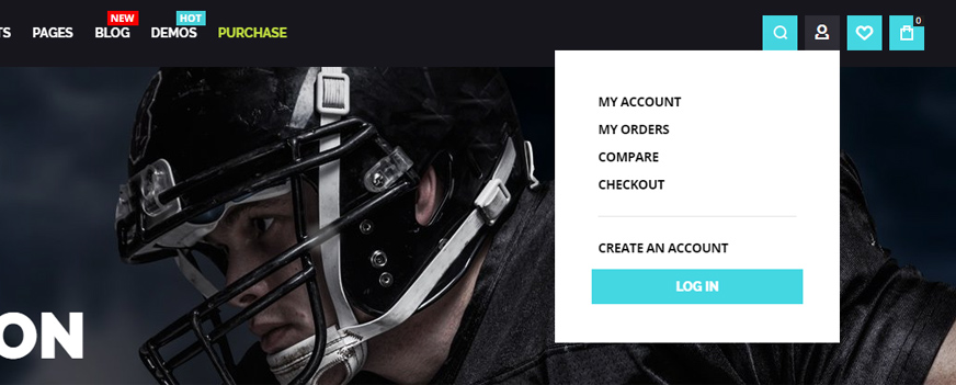 Athlete2 Magento 2 Theme My Account Drop Down