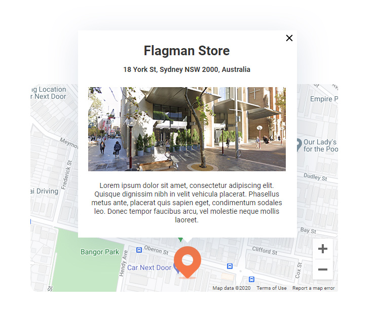 Google Maps Magento 2 show description in marker click