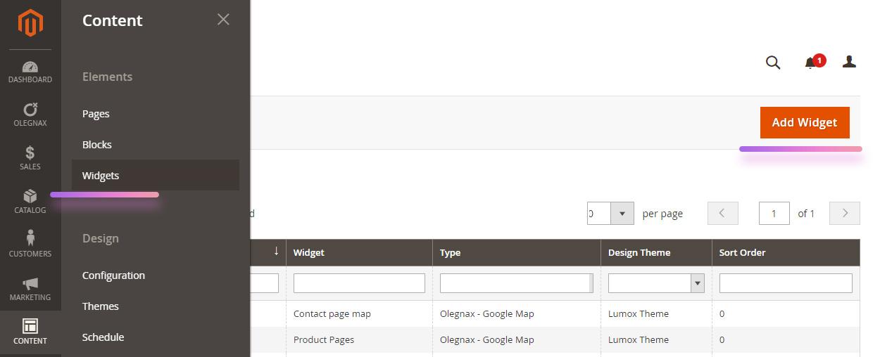 magento 2 widgets menu