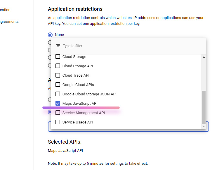 restrict google api key by application