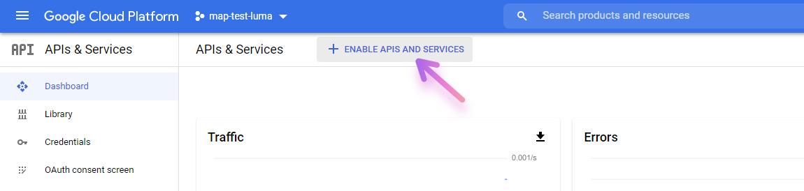 google cloud platform enable api and services