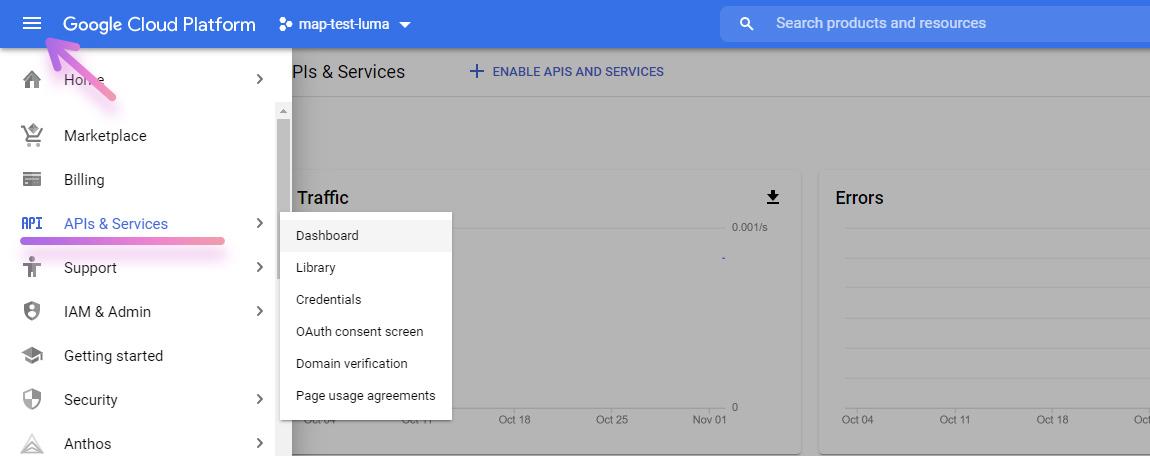 google cloud platform select api and services