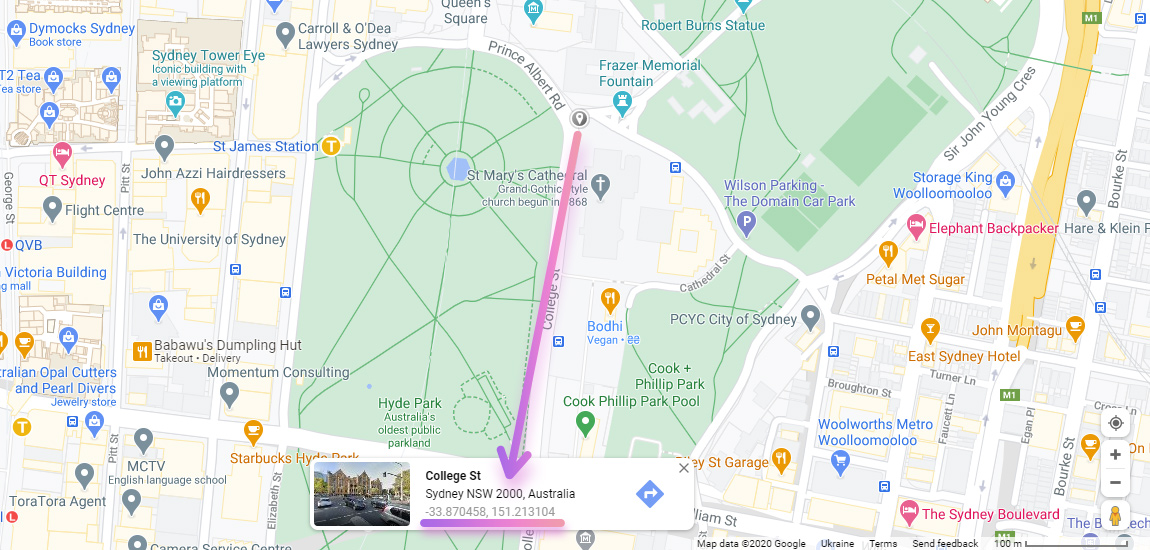 Popup with coordinates in google maps