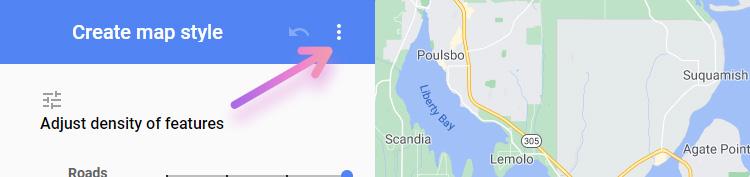 google map style wizard menu