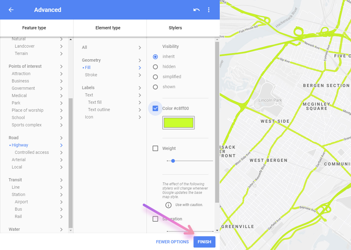 google map style wizard customize map