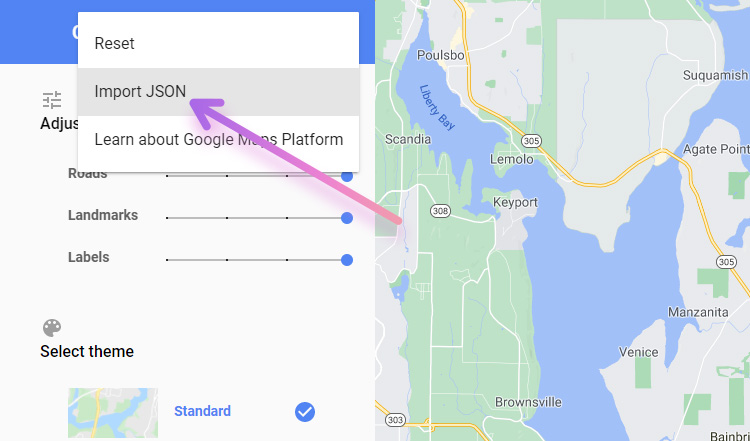 google map style wizard json import menu