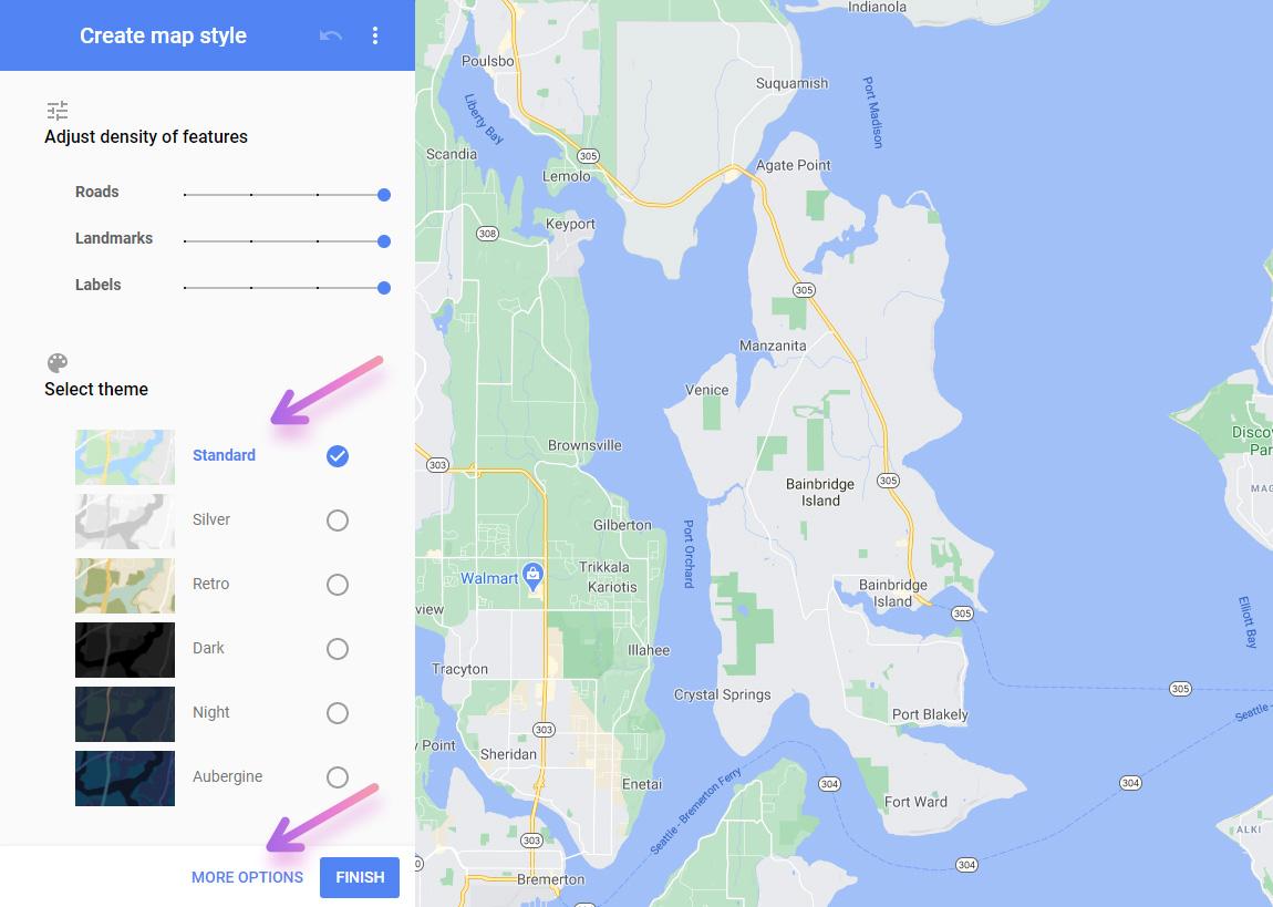 google map style wizard create custom style