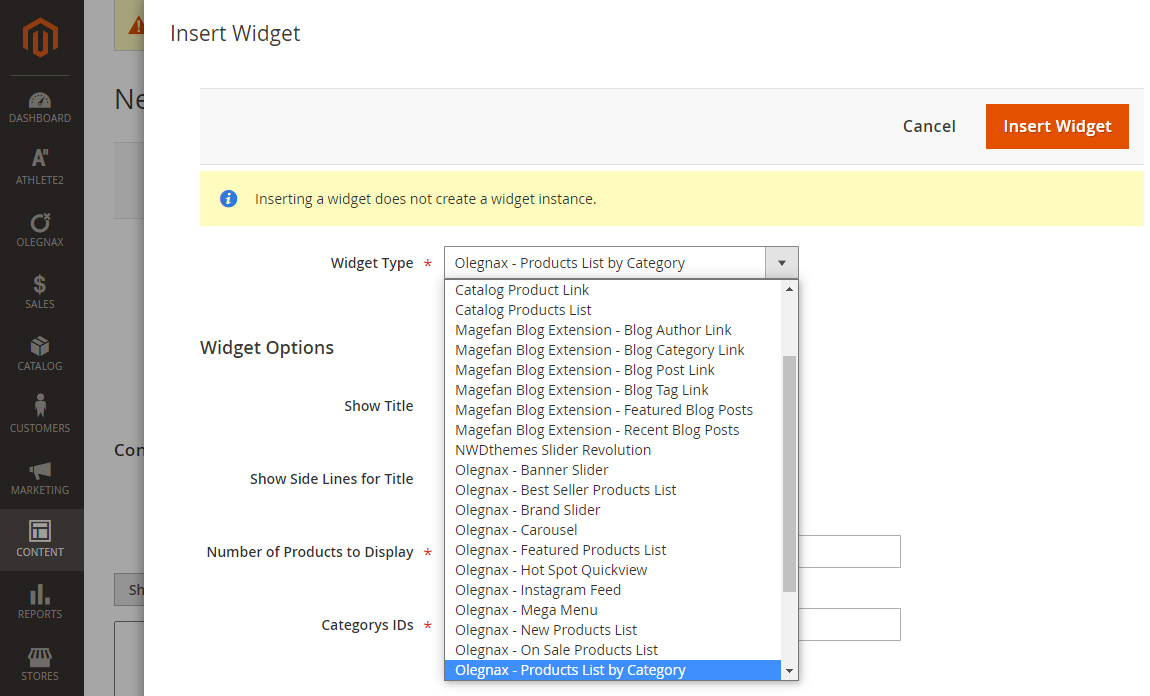 Choose widget in Magento 2