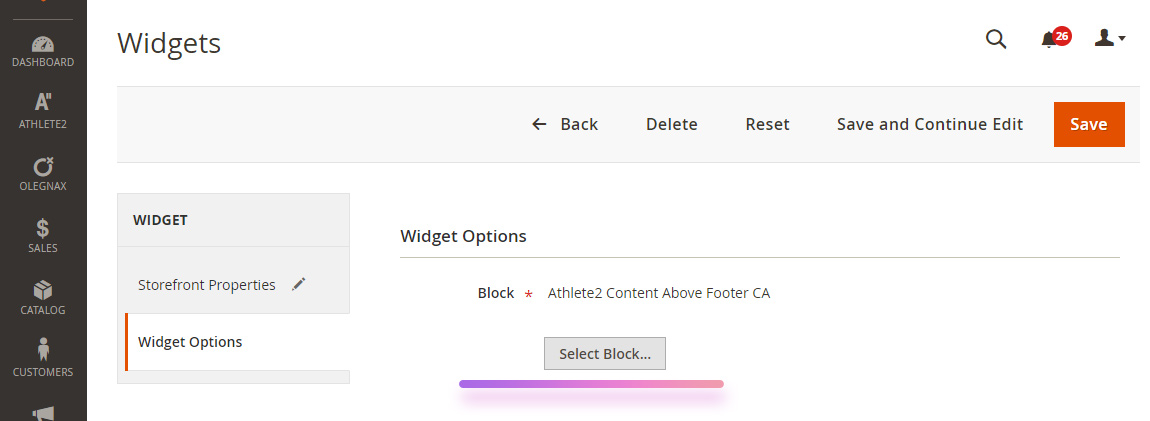 widgets select cms block magento 2